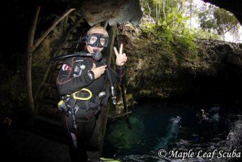 Diving El Pit cenote at Dos Ojos, Riviera Maya