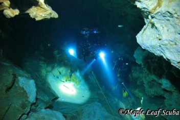Cenote diving the Barbie Line at Dos Ojos, Riviera Maya