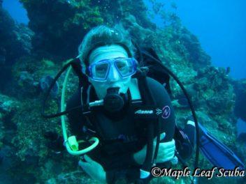 Glenda Meade, divemaster on a dive trip in Cozumel