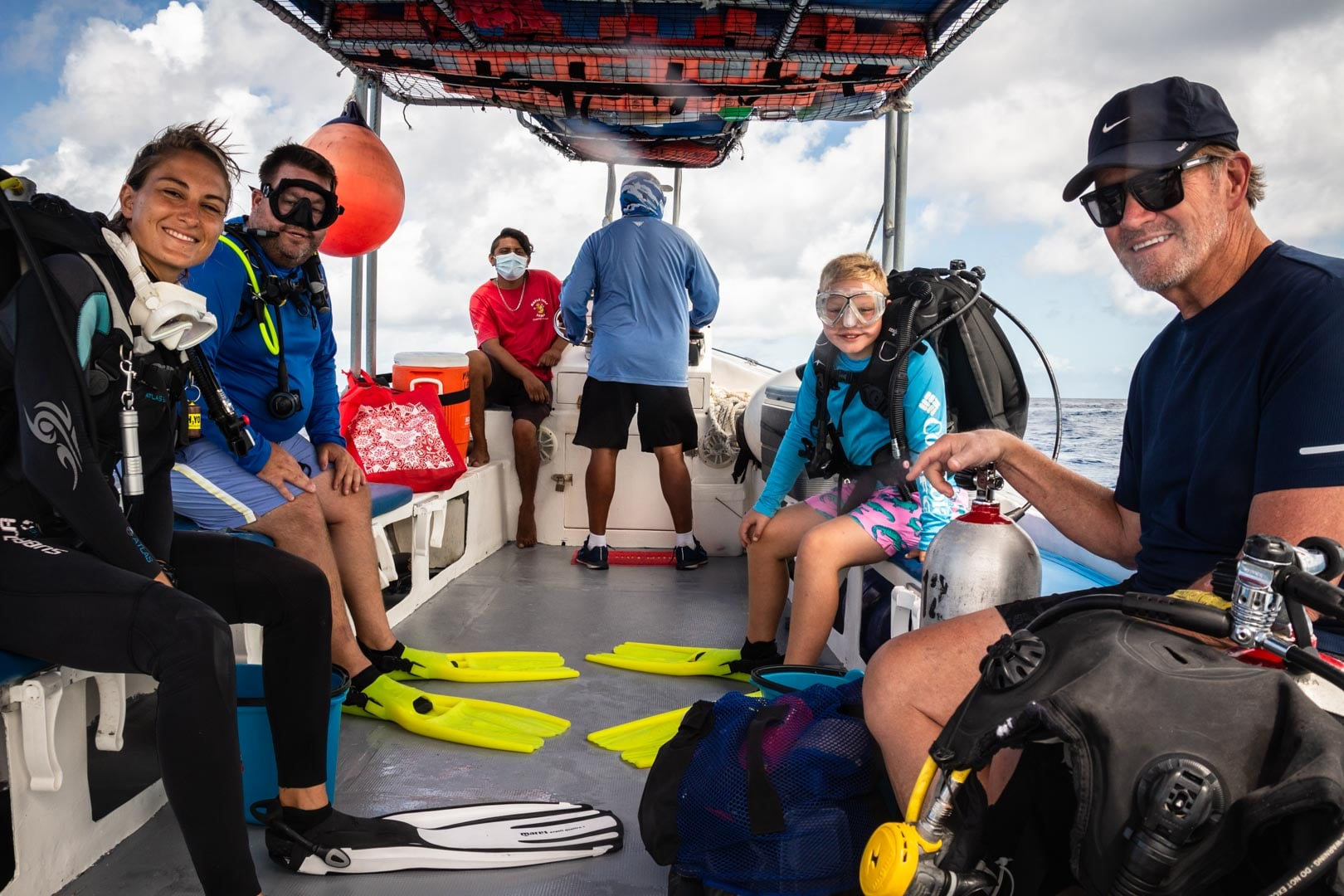 Family enjoying a private scuba diving trip